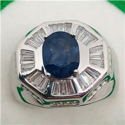 74) STERLING SILVER SAPPHIRE & CZ MEN'S RING
