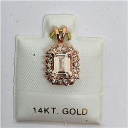 78) 14K ROSE GOLD MORGANITE & DIAMOND PENDANT