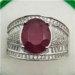 87) STERLING SILVER RUBY & CUBIC ZIRCONIA RING