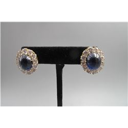 Pair 10k yellow gold inlay blue tourmaline large Stud earring ,classical disgn, condition as is show
