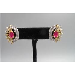 Pair rose color ruby Stud earring, condition as is show in photo.