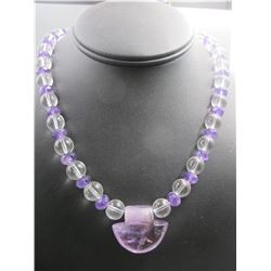 amethyst and crystal beads necklace with big amethyst pendant, condition as is show in photo.