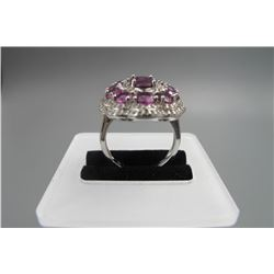 925 sterling inlay natural tourmaline ring, traditional design.size:   , condition as is show in pho