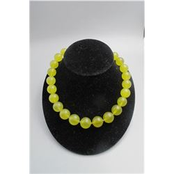 Early 20th centry (large beads )  prehnite necklace with 18K yellow gold buckle, condition as is sho