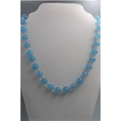 Natural aquamarine beads necklace, condition as is show in photo.