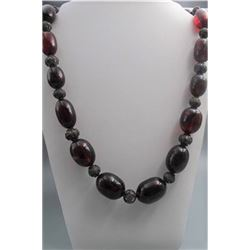 Large bead old blood amber necklace, condition as is show in photo.