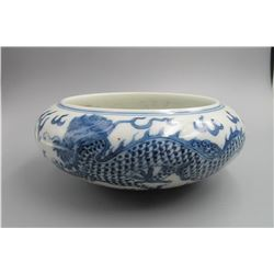 Qing Dynasty,blue and white wased,dragon  pattern, condition as is show in photo.