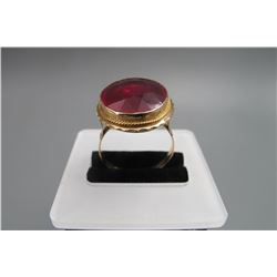 18k yellow gold inlay natural ruby(around 3 karat ),size:USA 10.5,condition as is show in photo.