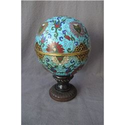 Qing Dynasty,bronze enamel ---Aroma stove,ball shape, condition as is show in photo.