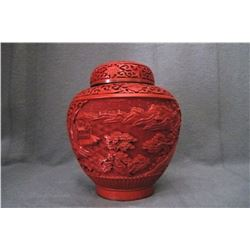 Mid-20th century , carved red lacquerware covered pot, condition as is show in photo.