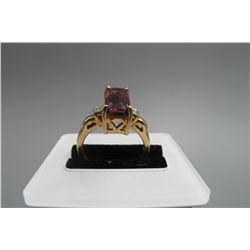 18k yellow gold inlay rose color tourmaline( emerald Cut)and diamond ring, size:   , condition as is
