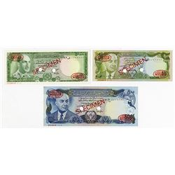 Bank of Afghanistan. 1967-1977. Trio of Specimen Notes.