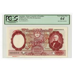 Banco Central De La Republica Argentina, ND (1961-69) Specimen Banknote.