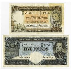 Commonwealth of Australia, 1954 to 1965 Banknote Issue Pair.