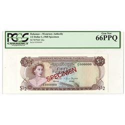 Bahamas Monetary Authority, 1968 1/2 Dollar High grade Specimen.