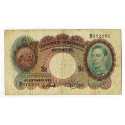 Government of Barbados. 1939. Issued Banknote.