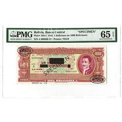 Banco Central De Bolivia, 1945 Essay Specimen, 1 Boliviano on 1000 Bolivianos.