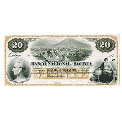 Banco Nacional De Bolivia, 187x (1873)  Cobija  Proof Banknote Used as a Model.