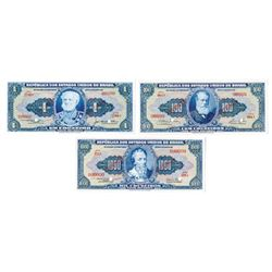 Republica Dos Estados Unidos Do Brasil, W/O Estampa (ND, 1954-59) Specimen Banknote Trio.