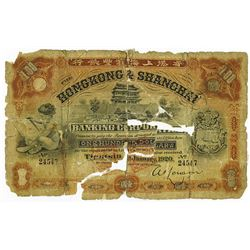 Hong Kong & Shanghai Banking Corp. 1920. Contemporary Raised Note from ABN Archives Counterfeit Dete