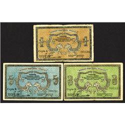 Harbin Community Administration, City Council 1919 Private Banknote Trio.