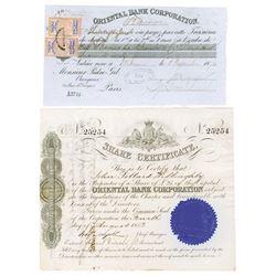Oriental Bank Corporation, 1853 Stock Certificate & 1872 Third of Exchange Duo.
