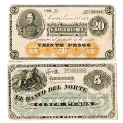 Banco Del Norte, 1882 Remainder Banknote Pair.