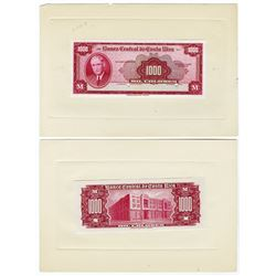 Banco Central de Costa Rica. 1951 Issue. Front & Back Proof Pair.
