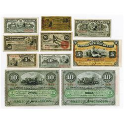Various Cuban Issuers. 1869-1896. Group of 10 Issued Notes.