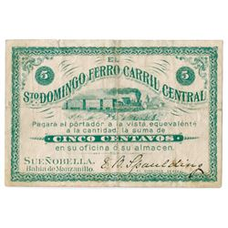 Dominican Republic, ca.1870-80's Railroad Scrip Rarity.