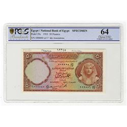 National Bank of Egypt. 1955. Specimen Banknote.