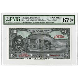 State Bank of Ethiopia, ND (1945) $100 Specimen Banknote, Possibly the Highest Graded.