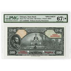 State Bank of Ethiopia, ND (1945) $500 Specimen Banknote.