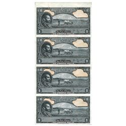 State Bank of Ethiopia, ND (1945) Specimen/Proof uncut Sheet of 4 notes.