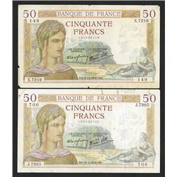 Banque de France 1930's Issued pair of Bank Notes.