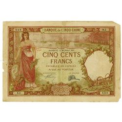 Banque de L'Indo-Chine. 1927. Issued Banknote.