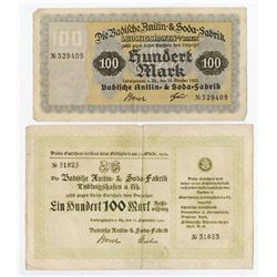 Notgeld Issues. 1922. Badische Anilin & Soda Fabrik (Baden Aniline and Soda Factory) Pair.