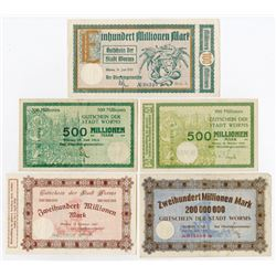Notgeld Issues. 1923. Stadt Worms Assortment.