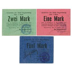 Stadt Kayersberg, 1914 Emergency Currency / Notgeld Trio.