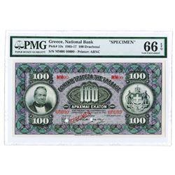 National Bank of Greece, 1917 Specimen Banknote.