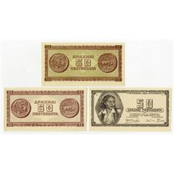 Bank of Greece, Inflation Issue, 1943 Color Trial Progress Proof Trio.