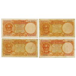 Bank of Greece. 1947. Quartet of Issued Banknotes.