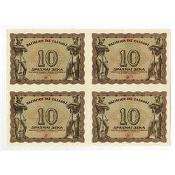 Kingdom of Greece, 1944 Uncut Block of 4 Notes.