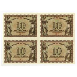 Kingdom of Greece, 1944 Uncut Block of 4 Notes.