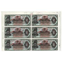 Banque De La Republique D'Haiti, 1919 Provisional Issue Uncut Partial Sheet of 6 Notes