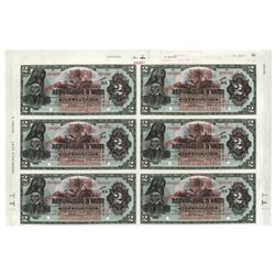 Banque De La Republique D'Haiti, 1919 Provisional Issue Uncut Partial Sheet of 6 Notes