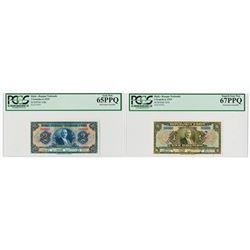Banque Nationale de la Republique d'Haiti. L.1919. Pair of Specimen Notes.