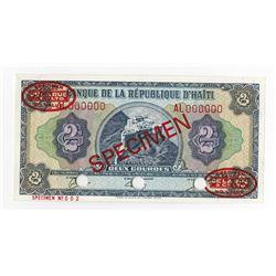 Banque De La Republique D'Haiti, L.1979, Specimen Banknote.