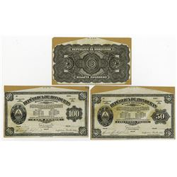 Republica de Honduras. Billete Aduanero (Customs Notes). Set of 3 Uniface Proofs