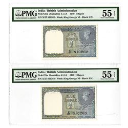 Government of India, ND (1940) Sequential Banknote Pair.